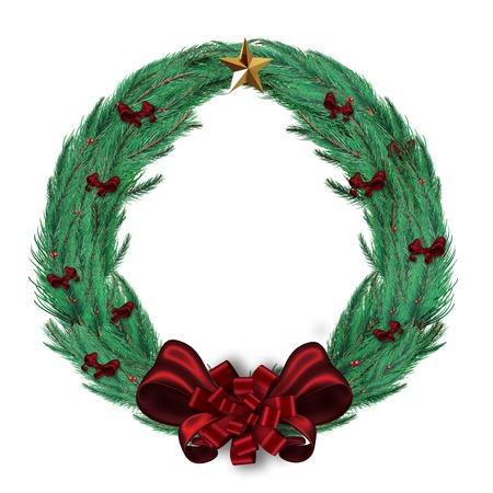 digitally  generated: Digitally generated green christmas wreath Stock Photo