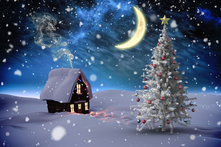 Composite image of christmas tree and house against aurora night sky in blue photo