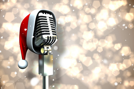 Composite image of microphone with santa hat against light glowing dots design pattern