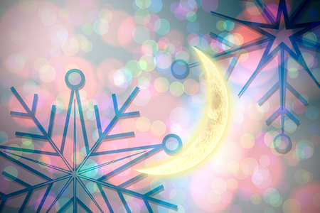 crescent moon: Crescent moon against blue snowflake pattern Stock Photo