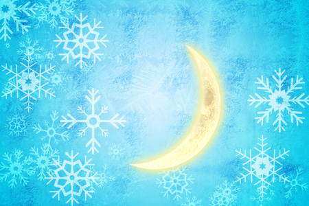 crescent moon: Crescent moon against blue snow flake pattern design
