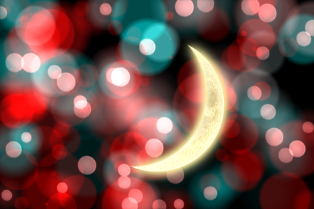 crescent moon: Crescent moon against digitally generated twinkling light design