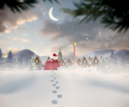 Santa walking in the snow against cute christmas village at north pole photo