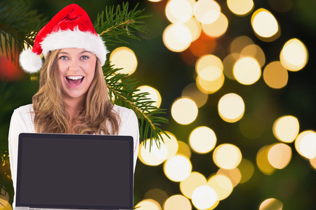 Festive blonde showing a laptop against fir tree branch with green needles photo