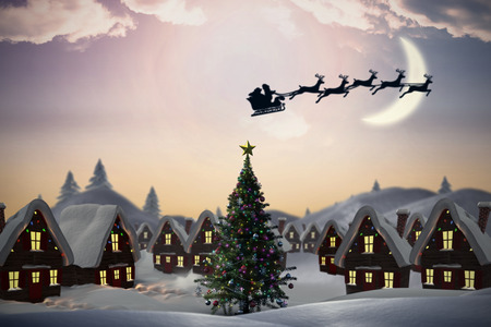 Silhouette of santa claus and reindeer against cute christmas village with tree