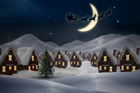 Silhouette of santa claus and reindeer against cute christmas village at night