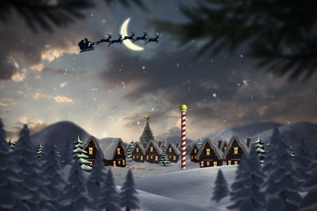 Silhouette of santa claus and reindeer against cute christmas village at north pole