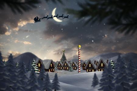 Silueta de Papá Noel y renos contra pueblo lindo navidad en el polo norte Foto de archivo - 32865525