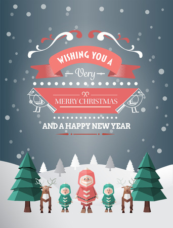Digitally generated Merry christmas and happy new year vector photo