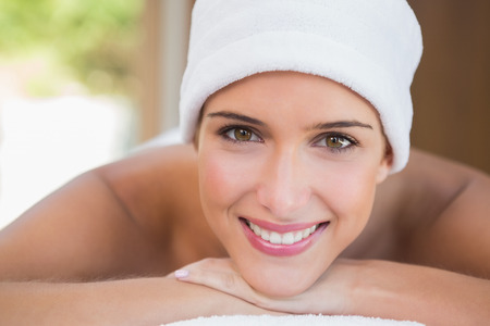 towel wrapped: Close up portrait of a beautiful young woman with towel wrapped on head
