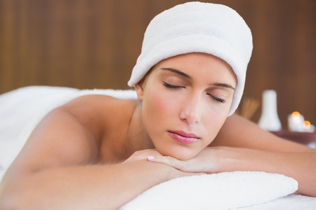 towel wrapped: Close up of a beautiful young woman with towel wrapped on head