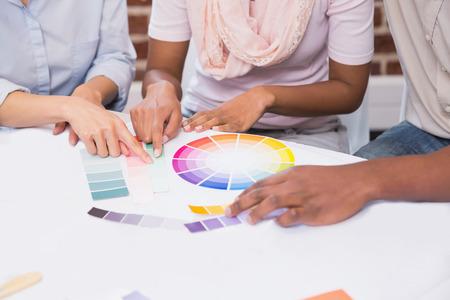 interior designer: Close up of interior designer working with clients