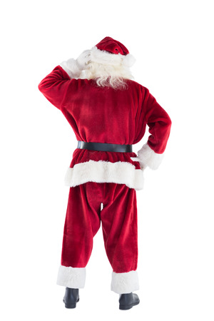 Santa is scratching his Head on white background photo