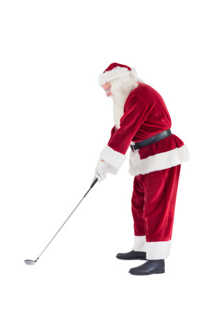 christmas golf: Santa Claus is playing golf on a white background