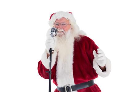 cantando: Santa Claus est� cantando canciones de Navidad en el fondo blanco