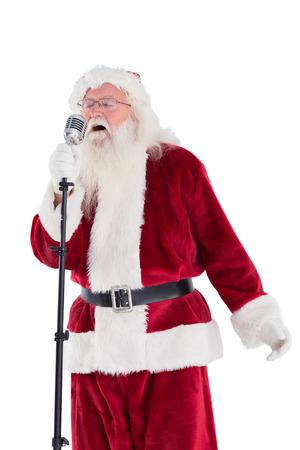 superstar: Santa sings like a Superstar on white background