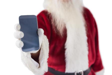 pere noel: P�re No�l montre un smartphone sur fond blanc