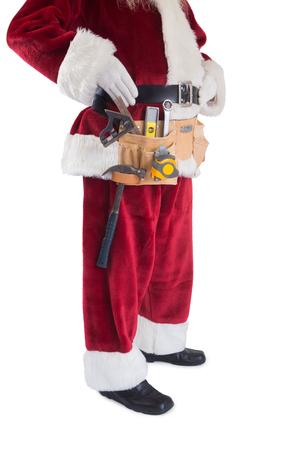 pere noel: Le P�re No�l porte une ceinture d'outils sur fond blanc Banque d'images