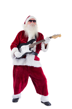 lean back: Santa Claus plays guitar with sunglasses on white background