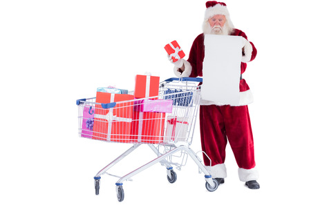 Santa spread presents with shopping cart on white background photo