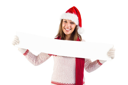 Festive blonde showing a blank banner on white background photo