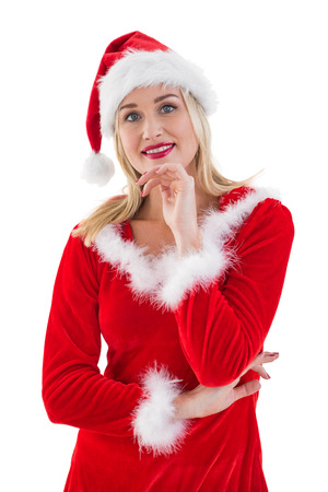 pere noel sexy: Festive blonds souriant à la caméra sur fond blanc