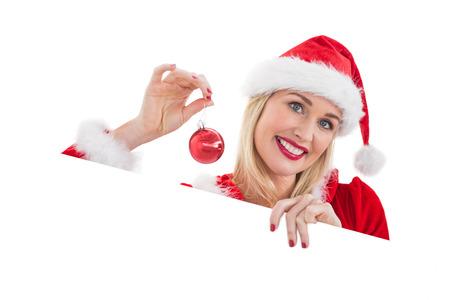 pere noel sexy: Festive d�montrant blonds carte blanche sur fond blanc Banque d'images