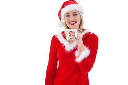 pere noel sexy: Blonds Festive tenant une tasse sur fond blanc