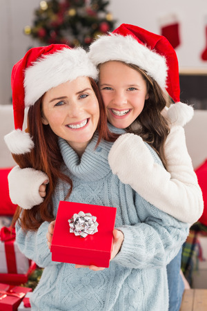 Festive mother and daughter on the couch with gift at home in the living room photo