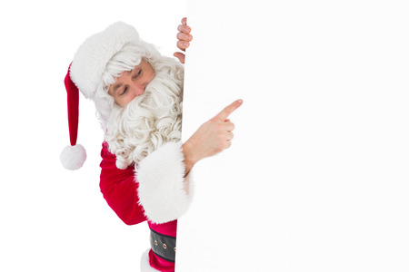 pere noel: Festive father christmas presenting sign on white background
