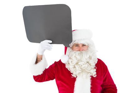 speak out: Happy santa claus holding speech bubble on white background Stock Photo