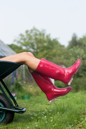 welly: Woman in welly boots in wheelbarrow at home in the garden