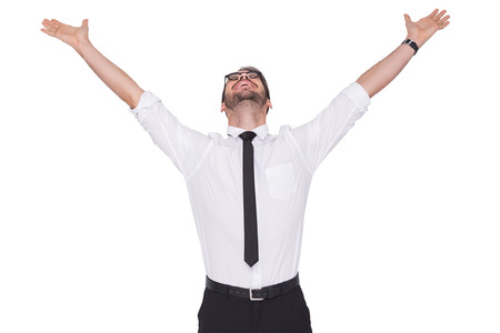 arms raised: Cheering businessman with his arms raised up on white background
