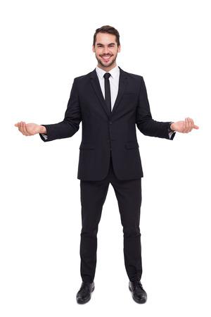 manos abiertas: Hombre de negocios feliz con las manos abiertas en el fondo blanco Foto de archivo