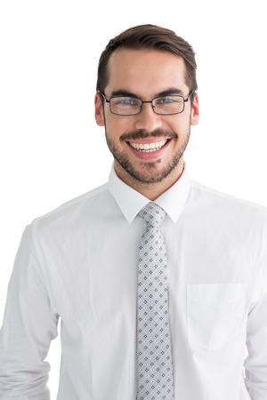 career young: Happy businessman with glasses posing on white background Stock Photo