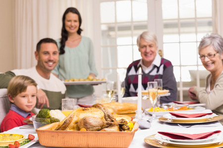 dinning table: Woman holding christmas dinner with family at dinning table at home in the living room Stock Photo