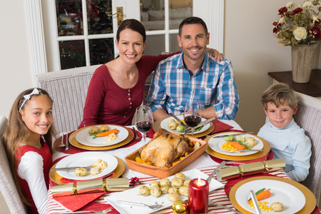 Smiling family looking at camera during christmas dinner at home in the living room photo