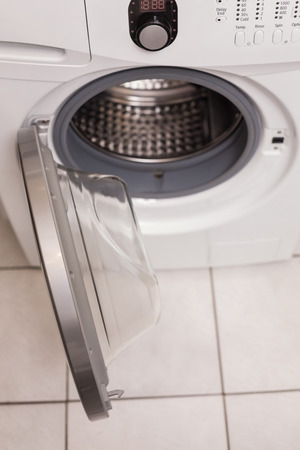 major household appliance: High angle view of washing machine in the kitchen Stock Photo
