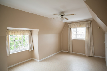 unfurnished: Empty master bedroom in cream and beige in a new house Stock Photo