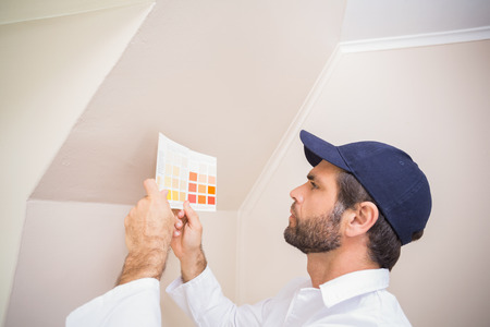 house painter: Painter consulting a colour chart in a new house Stock Photo