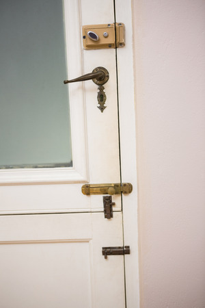 abode: Close up of a closed door at home