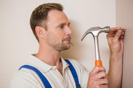 hammering: Man hammering nail in the wall at home