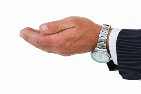 cut wrist: Businessman with wrist watch and hands out on white background