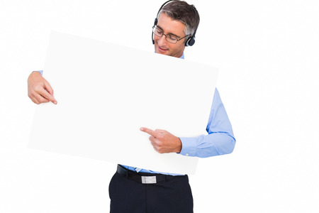 Businessman with headphone presenting a panel on white background photo