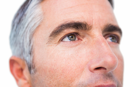 fourties: Close up of a man with grey hair on white background