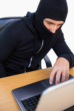 thievery: Thief with balaclava hacking a laptop on white background