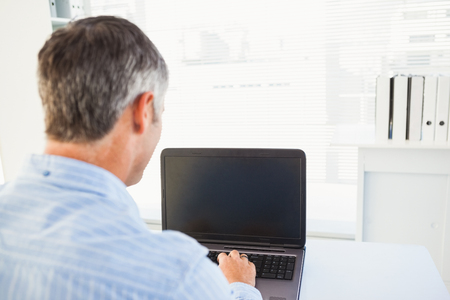 grey hair: Man with grey hair using his laptop in his office 스톡 사진