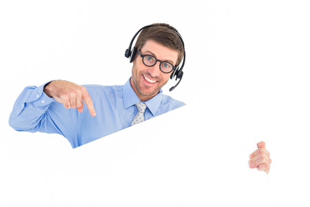 call center people in isolated: Businessman showing card wearing headset on white background