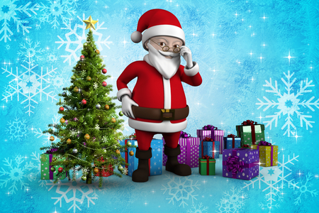 Cute cartoon santa claus against christmas tree with gifts photo