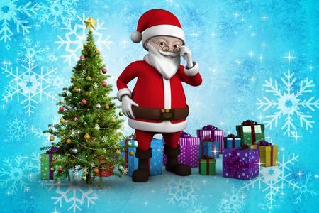 cute cartoon santa claus against christmas tree with gifts stock photo 33974011 - Santa Claus Christmas Tree